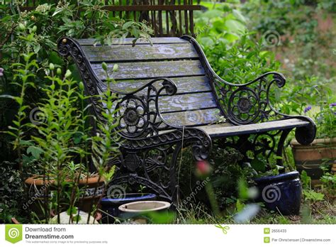 old garden bench old garden bench stock image image of worn flowers garden 2656433