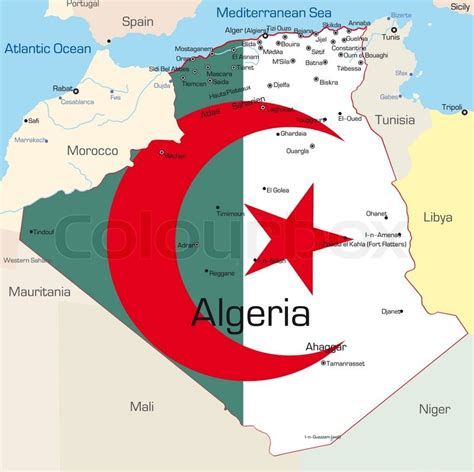 abstract vector color map  algeria country colored