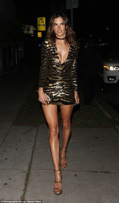 alessandra sublet leather dress alessandra ambrosio wears sequin mini dress to 35th