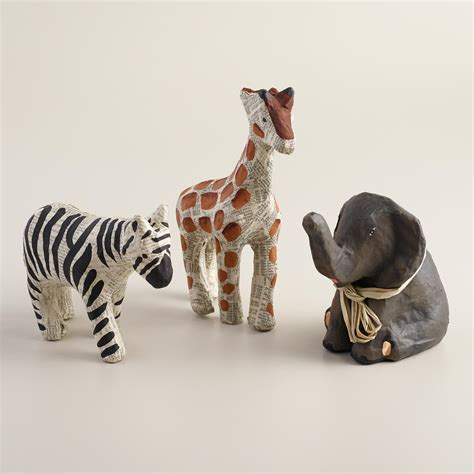 How To Make Paper Mache Animals - small papermache animals set of 3 world market
