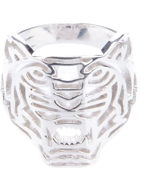 kenzo tiger ring in silver tiger lyst