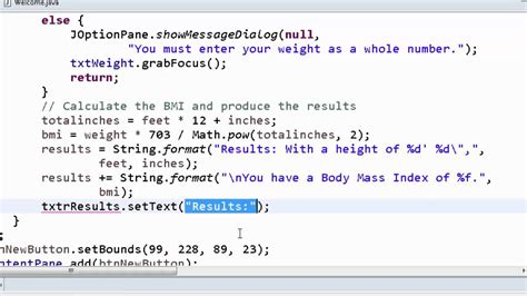 calculator java program java gui bmi calculator finishing the program youtube
