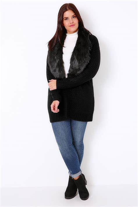 black knitted cardigan black knitted chunky cardigan with fur collar trim plus