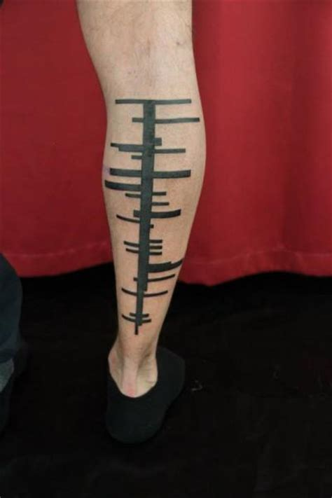 skin deep tribal tattoo calf tribal abstract by skin