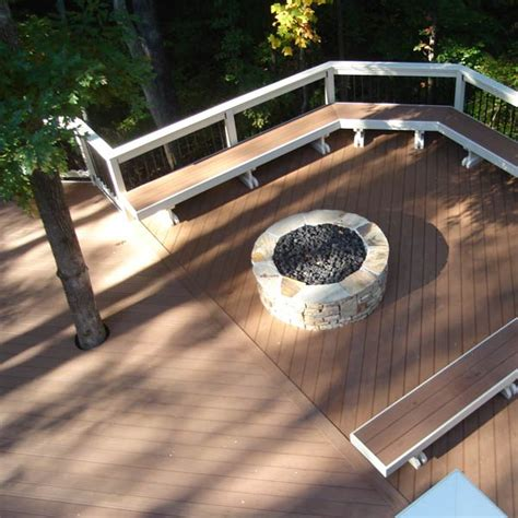 pit built into wood deck custom outdoor fireplace or pit archadeck outdoor