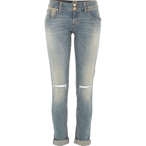 light wash ripped skinny jeans river island light wash ripped knee matilda skinny jeans