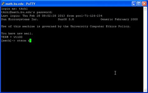 xterm tutorial linux using putty and x win32 to run unix linux applications