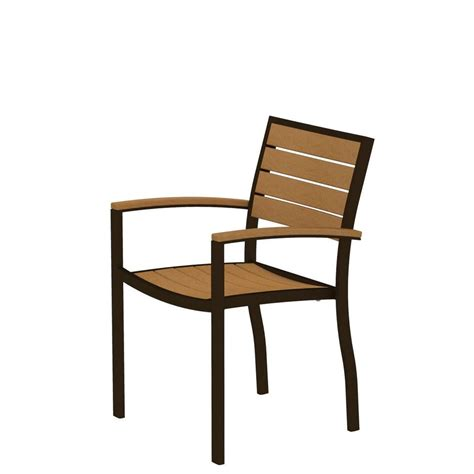 Teak Outdoor Dining Chairs Polywood Traditional Garden Teak Patio Dining Arm Chair Tgd200te The Home Depot