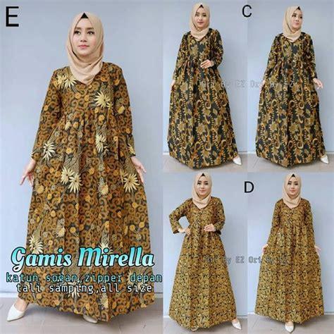 model gamis batik kombinasi embos terbaru fashion
