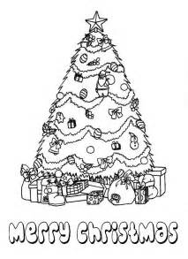 Gorgeous christmas tree with bunch of presents on christmas coloring