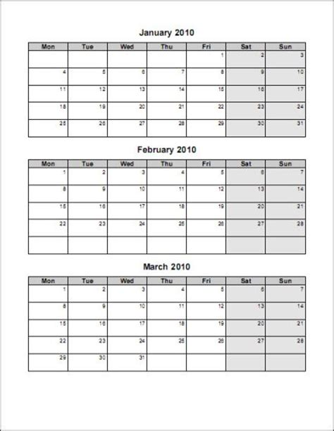 three month calendar template word 4 pages portrait 1 starts monday word doc 4 pages