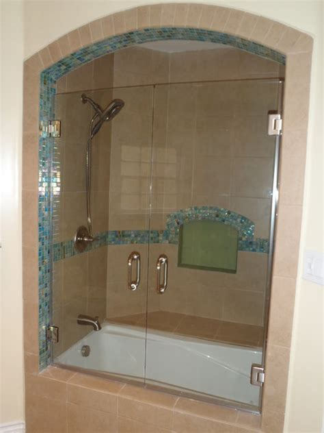 Bathroom Doors With Glass Frameless Shower Door Traditional Bathroom Los Angeles By Algami Glass Doors
