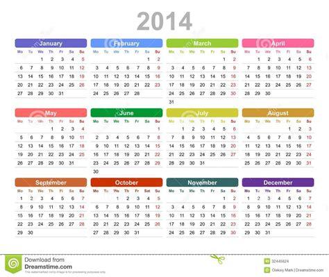 Imagen Calendario Original 2014 Year Annual Calendar Monday Stock