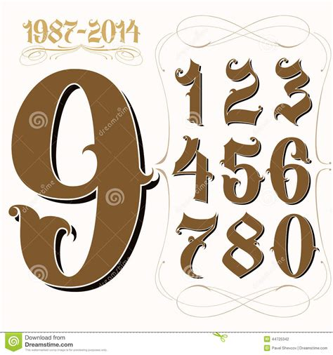image gallery old english numbers 15