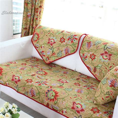 couch cushion fabric cotton slipcover pastoral floral print funda sofa cushion