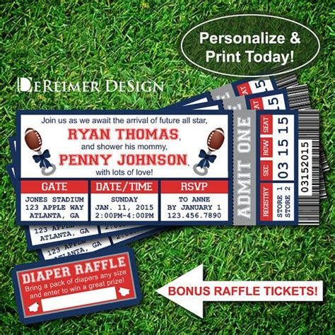 sports ticket baby boy shower invitation new england