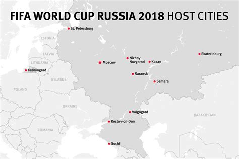 world cup 2018 host cities map map of the fifa world cup russia 2018 host cities human
