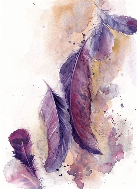 water color feather feathers painting original watercolor painting painting