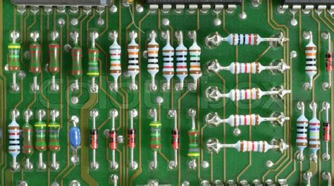circuit board with resistors stock photo colourbox