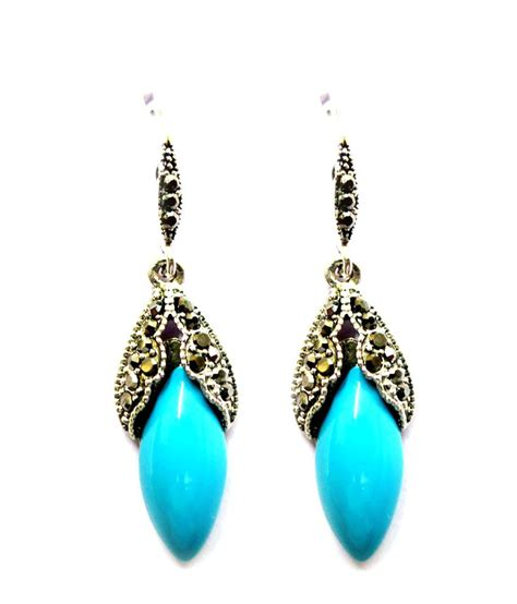 oxidised silver blue earrings buy rs