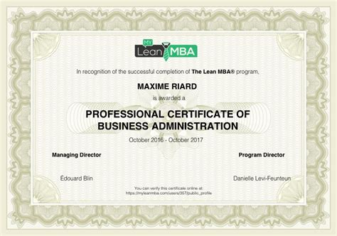 1 Year Mba In Usa Course by Mba Course Completion Certificate Sle Choice Image