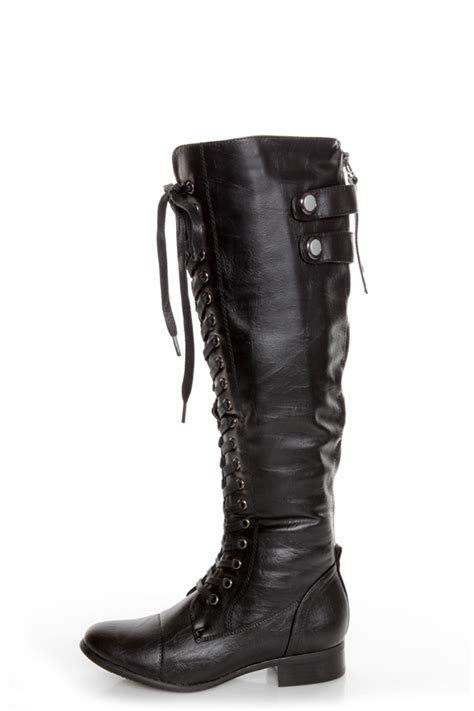 rocker black lace up knee high boots 66 00