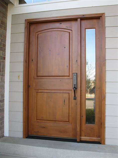 Custom Wood Exterior Doors Large Single Custom Wood Exterior Doors With Narrow Glass Panels And Black Metal Handle Ideas