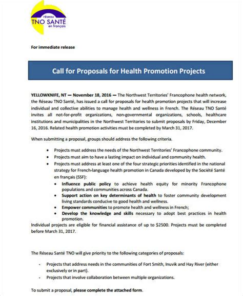 Health Promotion Project Template 42 Project Formats