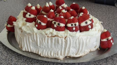 decorative christmas dessert recipes strawberry santa pavlova