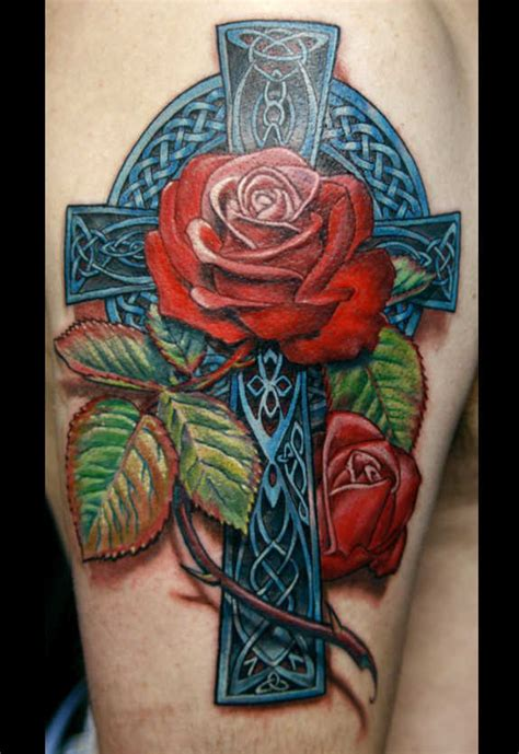 detailed rose tattoos celtic cross with www pixshark images