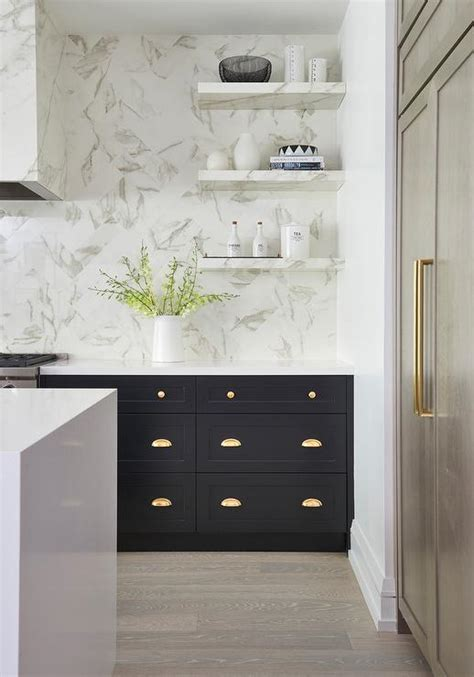 black paneled refrigerator  freezer  brass door