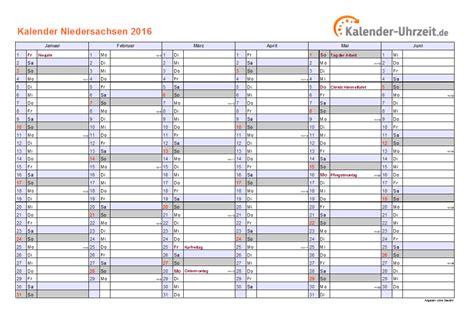 Jahresplaner Kalender 2016 Feiertage 2016 Niedersachsen Kalender