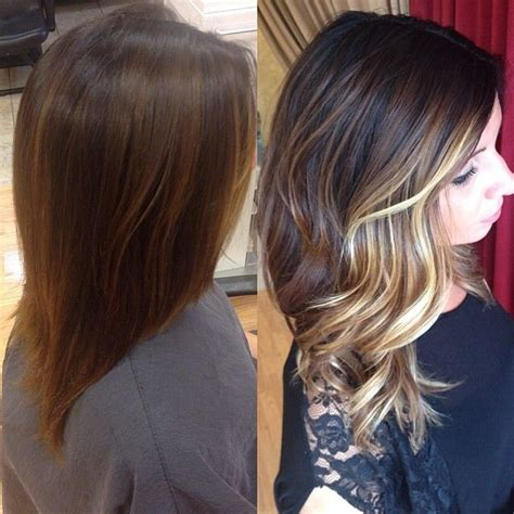 balayage highlights mid length hair before and after dark sombre short hair newhairstylesformen2014 com