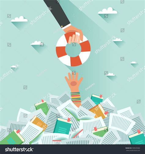 drowning in books drowning student getting lifebuoy pile books stock vector