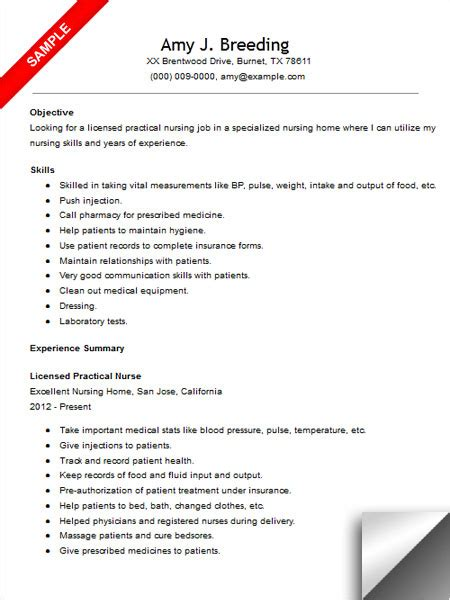 Exle Of Lpn Resume by Licensed Practical Resume Sle