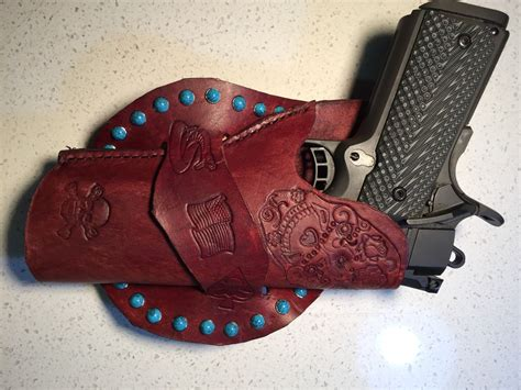 Handmade Leather Pistol Holsters - handmade leather gun holster 1911 custom carving holsters