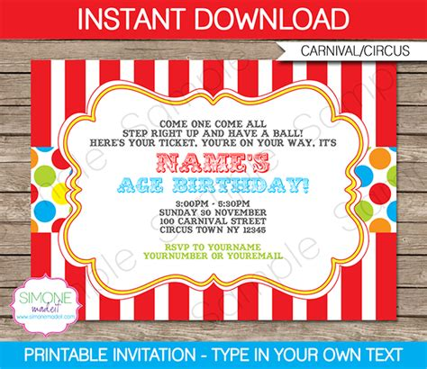 circus theme invitation templates carnival invitation template colorful carnival