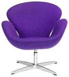 Purple Desk Chair Without Wheels Swivel Swan Chair In Purple Contemporary Armchairs