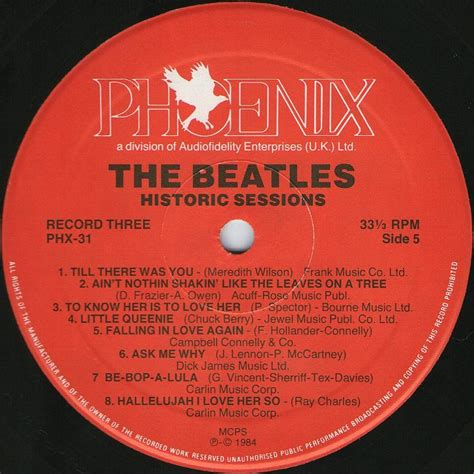 Phx Records The Beatles Collection 187 The Beatles Historic Sessions Records Phx 31