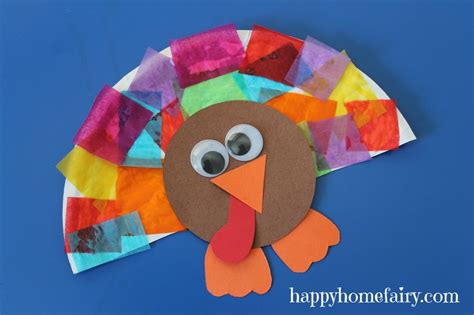 Easy Thanksgiving Paper Crafts - paper plate collage turkey craft homeschool