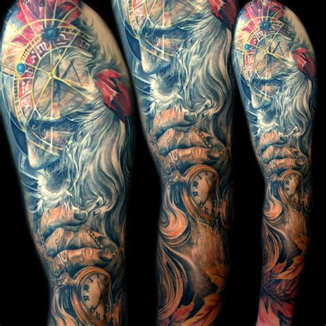father time tattoo time sleeve mancia stygian gallery