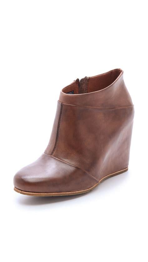 color booties lyst ugg carmine wedge booties in brown