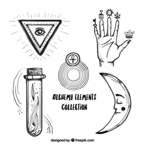 imagenes de simbolos alquimistas s 237 mbolos da m 227 o e alquimia desenhados m 227 o baixar vetores