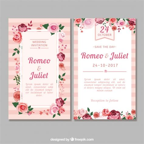 Wedding Invitation Freepik by Flat Wedding Invitation With Roses Vector Free