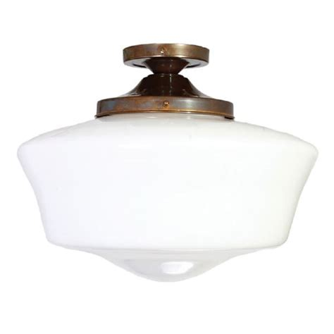school house semi flush ceiling light opal glass bowl