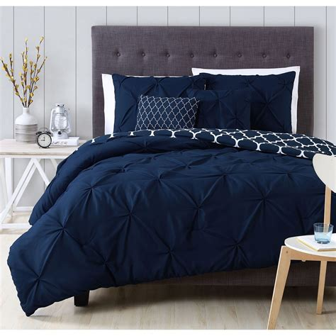 Navy Bed by A Beautiful Pintuck Design Adorns A Charcoal White Blue