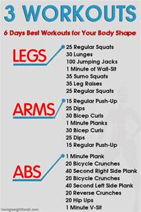 6 days workouts for your shape losing weight for all