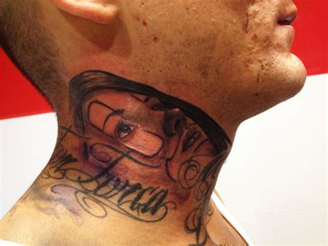 Neck Tattoo Mexican   mexican skull neck tattoo by wanted tattoo