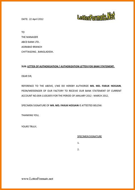 authorization letter format for 4 authorization letter format for bank mailroom clerk