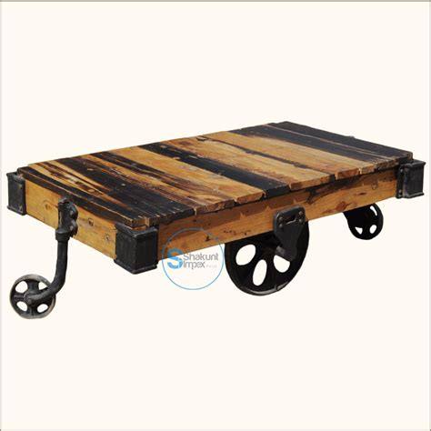 Industrial Coffee Tables With Wheels Reclaimed Wood Pallet Industrial Coffee Table On Wheels Shakunt Vintage Furniture Exporter